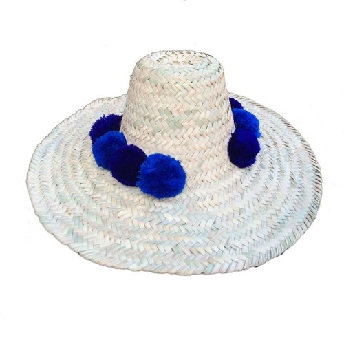[20%][MOM]Straw Hats pompom bleu