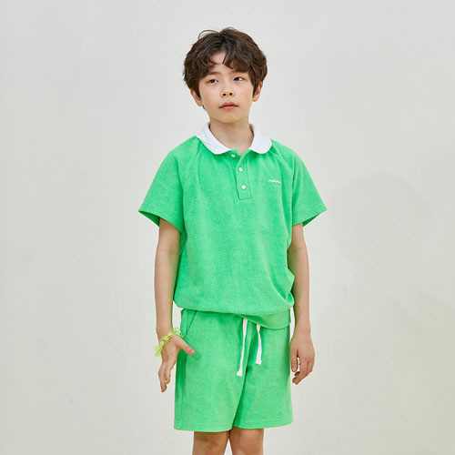 [10%]OVERSIZED POLO T-SHIRTS SET - green