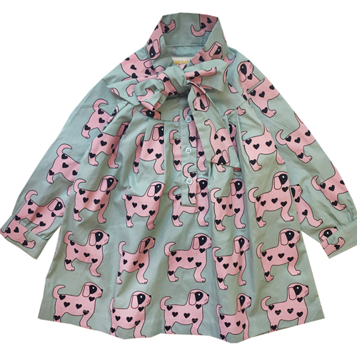 Bow Dress- Pink Dogs