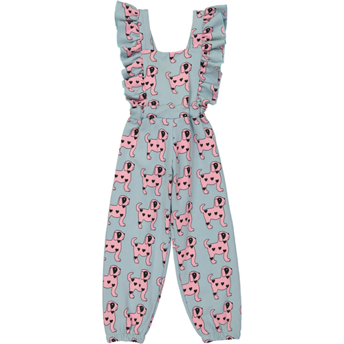 [30%]Ruffled Jumpsuit - Pink Dogs