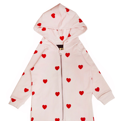 Hooded jumpsuit - hearts