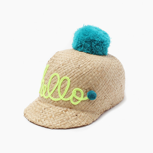[sample sale 50%]Hello raffia Cap -green